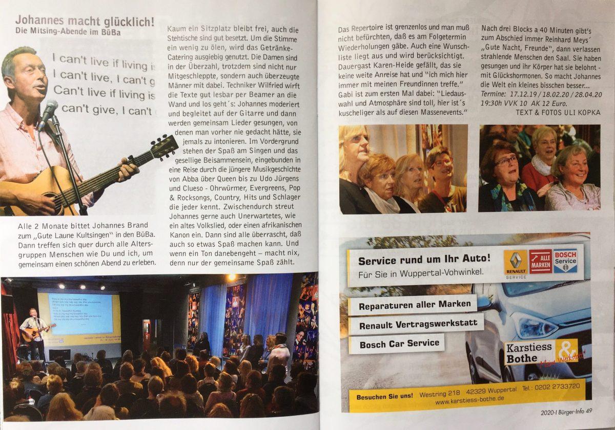 Bild Presseartikel aus der Buergerinfo Wuppertal zum Sing mal mit Event mit Johannes Brand