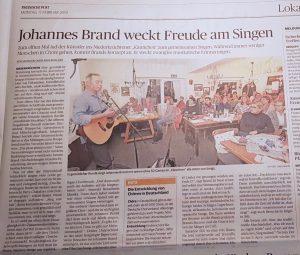 Bild Presseartikel aus der Rheinischen Post über Johannes Brand Sing mal mit Abend